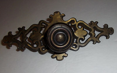 "Vtg Brass 6.85"" Ornate 2 Pc Armoire Cabinet Drawer Plate Pull RD. 1967 CAN."