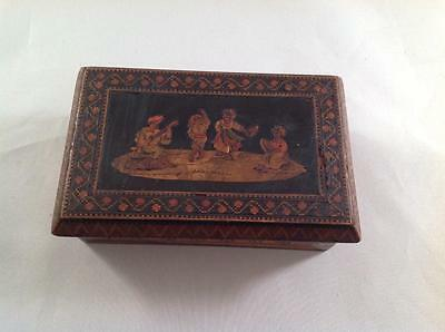 Antique Stamp Box inlaid Made in Italy Good Condition