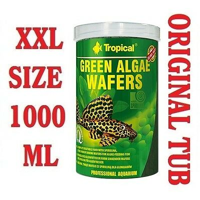 GREEN ALGAE WAFERS 100% Vegetable Sinking Wafers with Spirulina - 1000ml/450g-