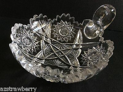 Vtg American Brilliant Clear Crystal Cut Glass Handled Nappy Dish 6""