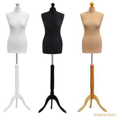 Female Tailor Dummy Size 34-36 UK Size 6/8 Mannequin Display Bust wood stand
