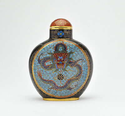 Chinese Cloisonné Snuff Bottle, Five-Clawed Dragons Flaming Pearl - Qing Dynasty