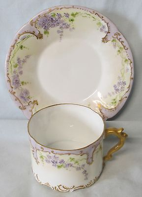 Rosenthal Sanssouci Purple Floral Thin Cup and Saucer set