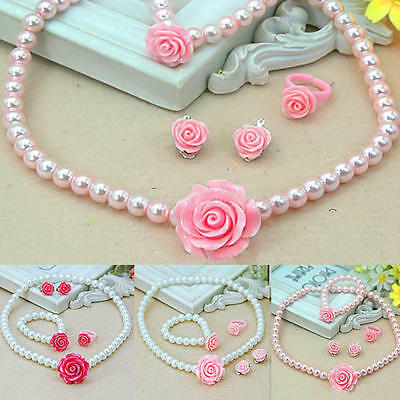 Girls Baby Kids Necklaces Bracelets Rings Ear Clips Imitation Pearls Jewelry Set