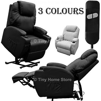 Luxury Leather Electric Rise and Recline Mobility Lift Chair Recliner Armchair