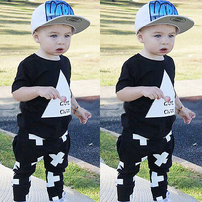 Toddler Baby Boys Girls Kids Casual T-shirt Tops+Long Pants Outfit Clothes Set