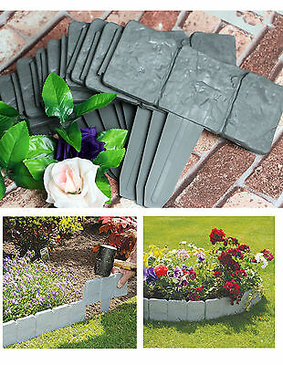 10 pcs Cobbled Stone Effect Plastic Garden Edging Hammer-In Lawn Palisade