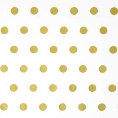 Shiny Gold Hot Spots Polka Dots White Metallic Tissue Paper Gift Wrap Wrapping