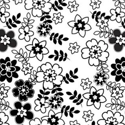 Retro Floral Black White Gift Wrap Wrapping Paper Colourfast Tissue Paper Sheets