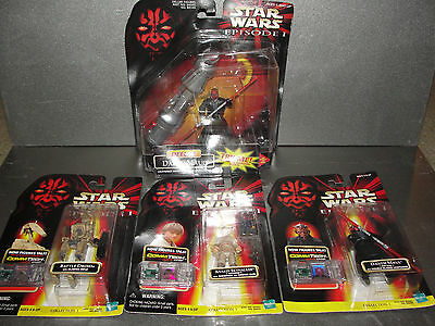 Lot of 4 Star Wars Episode 1 Figures - CommTech and Delux Darth Maul - Anakin