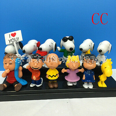 12pcs Movie PEANUTS Figure Playset Cake Toppers Snoopy Charlie Lucy Franklin Toy