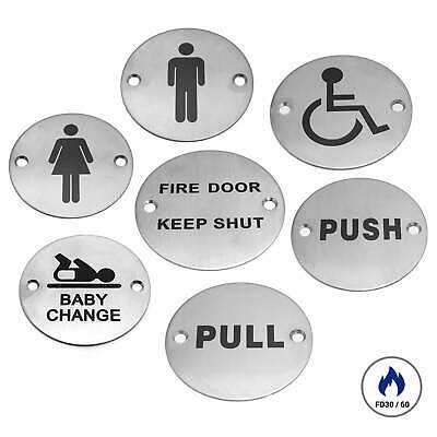 DOOR SIGN 76mm FIRE DOOR KEEP SHUT, TOILET BATHROOM DISABLED PULL PUSH SIGNS