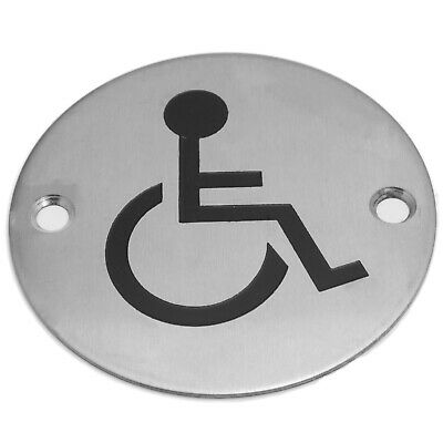"Disabled Facilities Door Sign, 3"" 75mm  Circular WC Toilet Sign Stainless Steel"