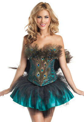 Sexy Adult 4 Piece Princess Peacock Corset Costume
