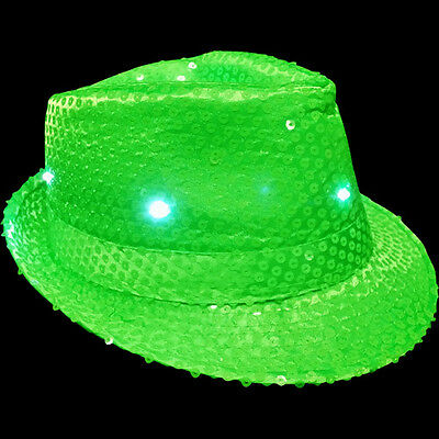 New: NEON LIME GREEN FEDORA HAT with Sequins and LED Lights