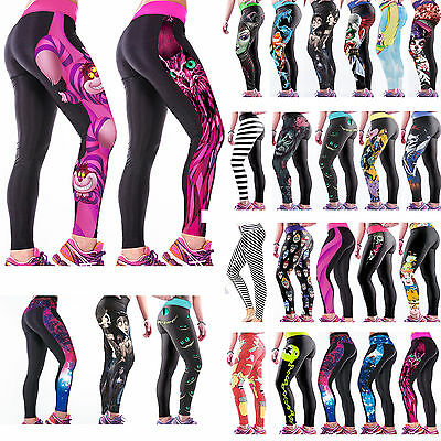 Womens 3D Cartoon Printed Yoga Pants Sport Leggings Stretch Tracksuit Trousers