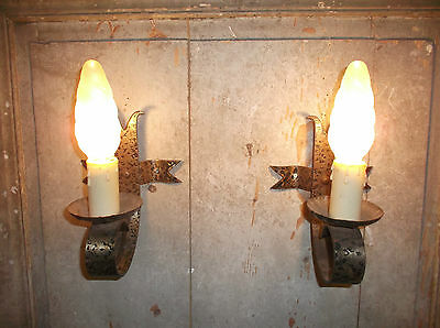 French a pair of vintage iron solid  wall light sconces rustic  detailed • CAD $111.40