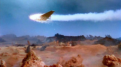 1955's CONQUEST OF SPACE Mars touchdown approach color 7x10 scene