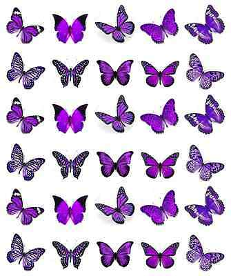 30x Purple Butterflies Cupcake Toppers Edible Wafer Paper Fairy Cake Toppers