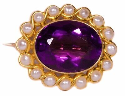 Solid 14K Yellow Gold Pin Featuring An Oval Amethyst & 16 Pearls! Very Elegant!