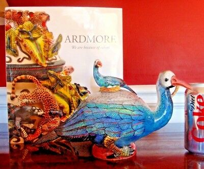 ARDMORE CERAMIC BIRD TUREEN BOWL & LID JAR 2-pc, S Africa $5K ORIGINAL FAB! SALE
