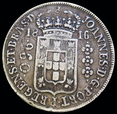 1816 R Silver Brazil 960 Reis Joao Prince Regent Over-Struck Coin Vf Condition
