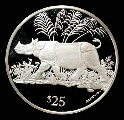 1993 Silver British Virgin Islands $25 Javan Rhino Endangered Wildlife Proof