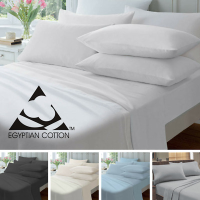 NEW Egyptian Cotton 175gsm Flannelette Bed Sheet Set SINGLE DOUBLE QUEEN KING