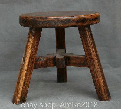 "10"" Old Chinese Huang Huali Wood handwork carving 3 Leg stool chair furniture"