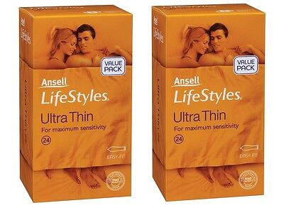 Ansell Lifestyles Ultra Thin Condoms 2x24s (48 Bulk Pack)