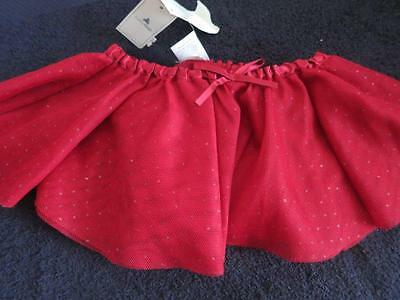 Nwt Baby Gap Girls One Size Dance Tutu Silky Red Silver Bow Mesh Material Skirt