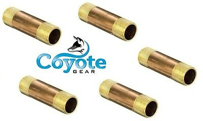 "5 Pack Lot 1/8"" NPT x 2"" Long Brass Pipe Thread Nipple Nipples Coyote Gear"