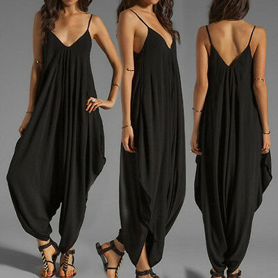 damen chiffon lange overall hose playsuit romper jumpsuit r ckenfrei anzug spiel eur 10 99. Black Bedroom Furniture Sets. Home Design Ideas
