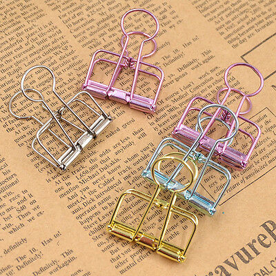 5pcs Hollow Out Metal Binder Clips Office Files Paper School Supplies Random