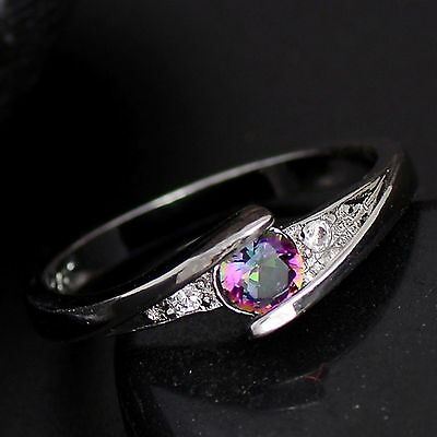 New 925 Sterling Silver Filled Dual Colour Cubic Zirconia Rings for Women