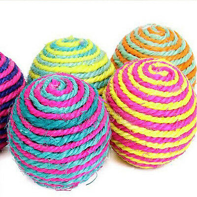 Dog Cat Kitten Pet Teaser Sisal Rope Weave Ball Play Chewing Catch Toys Funning