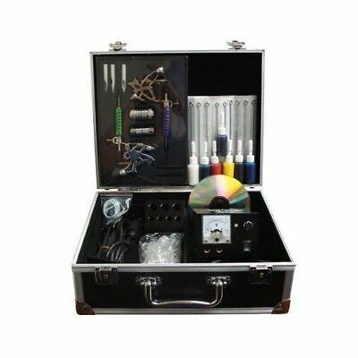 Full Professional Tattoo Kits Power Guns Needles Tips Pedal Accessories Case