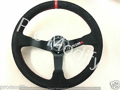 NISMO 350 mm Suede Leather Deep Dish Steering Wheel OMP MOMO Rally Drifting