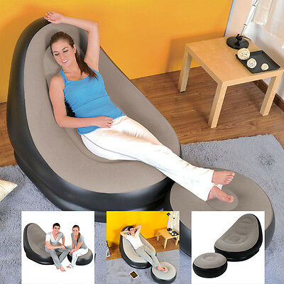 Jilong Inflatable Deluxe Lounge Lounger Chair With Ottoman Relax Foot Seat Stool