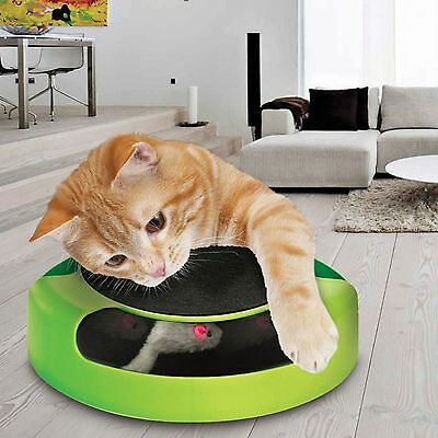 Cat Kitty Toy Scratching Post Mat With Moving Plush Mouse Training Funny Game