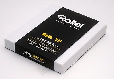 Rollei RPX 25 4x5/5x4 Black & White Sheet Film 25 Sheets Expiry Date 04/2020