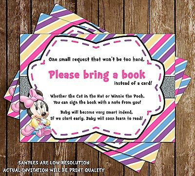 Baby Minnie Mouse - Baby Shower - Bring a Book Insert - 15 Printed W/envelopes