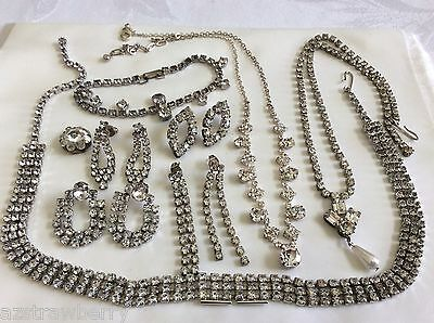 VTG Lot of 9 Silver Tone Clear Rhinestones collar Necklaces earrings bracelet