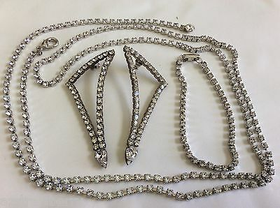 Set of 3 Silver Tone Clear Rhinestones Necklaces earrings bracelet