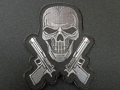 Skull With 2 Pistols Gun And Skull Patch Biker Outlaw Vest Patch Mc