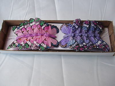 FEATHER BUTTERFLY ON WIRE PINK/LILAC 12 X 11cm Large