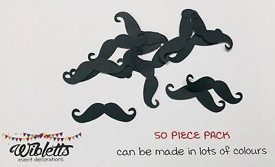 50x PAPER CARDSTOCK BLACK MOUSTACHE MO CUT OUT DIY PHOTO BOOTH SCRAPBOOKING