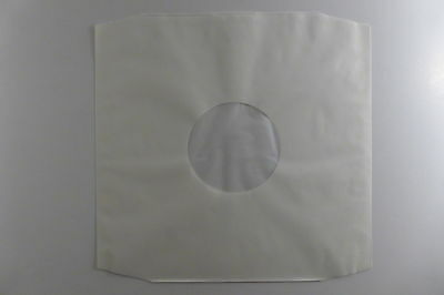 """100 x 12"""" Polylined White Paper Record Sleeves. Free P&P"""