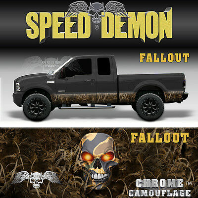 "Camo ""FALLOUT"" Rocker Panel Graphics Decal Wrap Kit Truck SUV Camouflage"