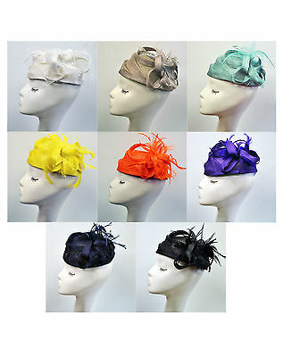 Floral Flower Feather Fascinator Sinamay Hat Pillbox Shaped Wedding Race Ascot